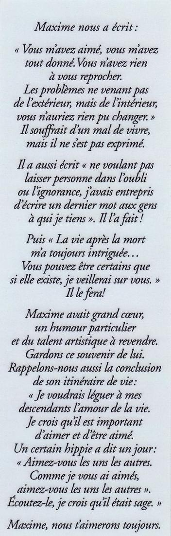 A la mémoire de Maxime Richard 16 ans   1996-2012